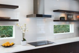 Modern Kitchen with European Cabinets, AKDY Stainless Steel Wall Mount Range Hood, Flush, Large Ceramic Tile, High ceiling