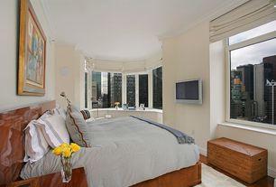 Contemporary Master Bedroom with Built-in bookshelf, Casement, Crown molding, Hardwood floors, picture window