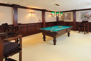 Traditional Game Room with can lights, Standard height, Wall sconce, Crown molding, Carpet, interior wallpaper, Wainscotting