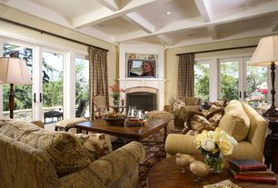 Traditional Living Room with Box ceiling, Hardwood floors, Standard height, picture window, French doors, Fireplace