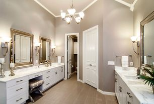 Contemporary Master Bathroom with Complex marble counters, partial backsplash, can lights, Flush, Paint, Wall sconce