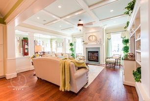 Traditional Living Room with Marlite supreme wainscot hdf tongue and groove paintable white beadboard panel, Hardwood floors
