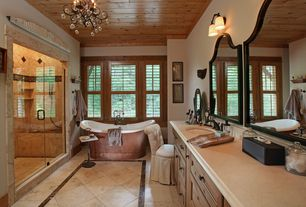 Traditional Master Bathroom with Flat panel cabinets, Undermount sink, Inset cabinets, Freestanding, Chandelier