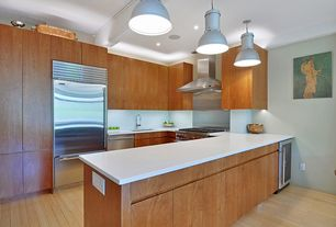 Contemporary Kitchen with Pendant light, Simple marble counters, Lg hausys hi-macs-solid surface countertop in ivory white