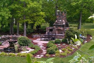 Traditional Landscape/Yard with exterior stone floors, Pond, Pathway, Fence, outdoor pizza oven