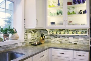 Contemporary Kitchen with L-shaped, Glass panel, The Tile Shop Inglewood Glass 1 x 4 in, Undermount sink, Ceramic Tile