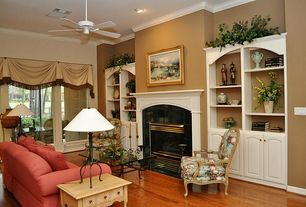 Traditional Living Room with Uttermost quillon glass coffee table, Ceiling fan, Zentique Inc. Cannes Fabric Arm Chair