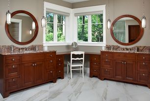 Craftsman Master Bathroom with Flat panel cabinets, Undermount sink, Pental calacatta gold honed marble, Complex Granite