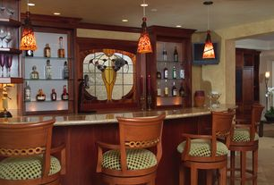 Eclectic Bar with Crown molding, Stained glass window, Pendant light, limestone tile floors, Besa lighting - cierro pendant