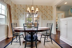 "Traditional Dining Room with Shades of Light 5"" Cream Silk Bell Chandelier Shade, Hardwood floors, Wainscotting, Chandelier"