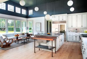 Cottage Kitchen with High ceiling, full backsplash, Farmhouse sink, Flat panel cabinets, Complex marble counters, L-shaped