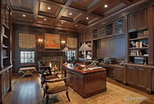 Traditional Home Office with Crown molding, Standard height, Wall sconce, double-hung window, Box ceiling, Hardwood floors