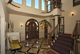 Traditional Entryway with Wainscotting, High ceiling, Casement, bedroom reading light, six panel door, Concrete floors