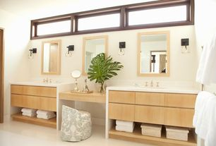 Contemporary Master Bathroom with Natural Maple Wood Frame Mirror, Wall sconce, Pental quartz super white bq200, Vinyl floors