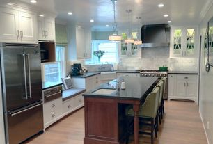 Traditional Kitchen with Pendant light, Glass panel, U-shaped, Inset cabinets, European Cabinets, Flat panel cabinets