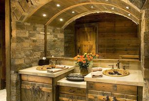 "Rustic Master Bathroom with 12"" x12"" travertine tile, Sandstone Tile, Interior stacked stone wall, sandstone tile counters"