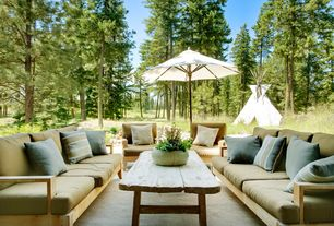 Rustic Patio with New luxurious 5 piece teak sectional sofa set - 2 sofas(left & right), 1 lounge armless chair, 1 cor