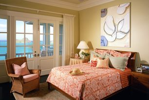Tropical Guest Bedroom with Hardwood floors, French doors, Furniture Classics LTD Madras Rope Chair with Cushion, Ceiling fan