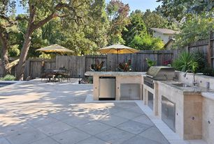 Traditional Patio with exterior stone floors, Pathway, Outdoor kitchen