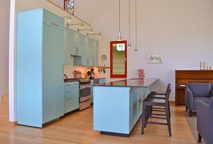 Contemporary Kitchen with full backsplash, Standard height, Hardwood floors, U-shaped, Undermount sink, Wall sconce, Casement