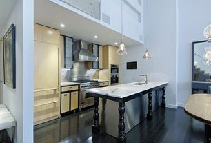 Contemporary Kitchen with Kitchen island, Undermount sink, Loft, Complex marble counters, One-wall, Pendant light, Flush