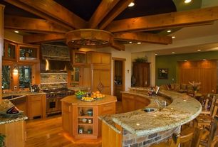 Country Kitchen with Wall sconce, Mr direct - 405 single bowl stainless steel apron sink, Kitchen island, Undermount sink