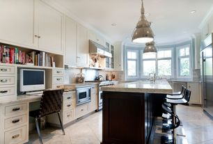 Traditional Kitchen with Complex Marble Tile, Crown molding, Glass panel, Breakfast bar, Stone Tile, U-shaped, Pendant light
