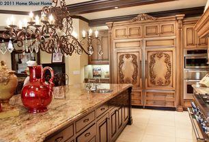 Traditional Kitchen with Kitchen island, Custom kitchen, Paint, Chandelier