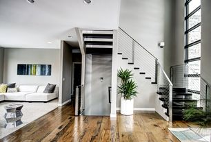 Contemporary Entryway with Wall sconce, West Elm Faceted Mirror Side Table, Hardwood floors
