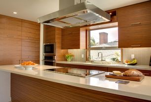 "Contemporary Kitchen with Flush, Large Ceramic Tile, European Cabinets, L-shaped, Kitchen island, 30"" Double Wall Oven"