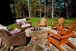 Rustic Patio with exterior stone floors, Fire pit