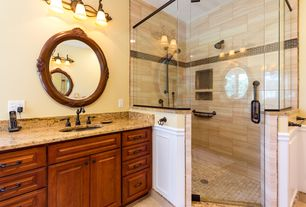 Traditional Master Bathroom with Complex granite counters, Complex Granite, Flush, Custom Frameless Shower, Undermount sink