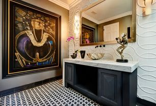 Art Deco Powder Room with Standard height, six panel door, Powder room, Glass panel, Vessel sink, Crown molding, Vinyl floors