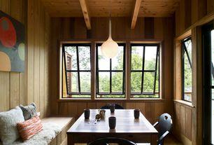 Rustic Dining Room with Hardwood floors, Pendant light, Exposed beam