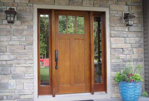 Craftsman Front Door with Glass panel door, exterior stone floors, Pathway