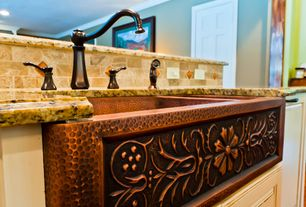 Traditional Kitchen with Paint, Natural stone subway tile, Simple granite counters, Farmhouse sink