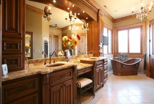 """Craftsman Master Bathroom with Paint 2, Chandelier, Quoizel bandelier 8"""" high imperial bronze wall sconce, Master bathroom"""