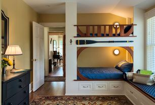Craftsman Kids Bedroom with Window seat, Hardwood floors, West Elm Lexington Coverlet + Shams, Bunk beds, Wall sconce