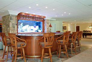 Tropical Bar with Built-in bookshelf, terracotta tile floors, Standard height, can lights