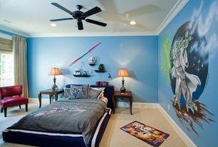 Traditional Kids Bedroom with no bedroom feature, can lights, Carpet, Mural, Ceiling fan, Paint 1, Casement, Standard height