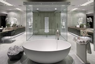 Modern Master Bathroom with Complex Marble, Rain shower, Undermount sink, Ms international athens grey marble, can lights