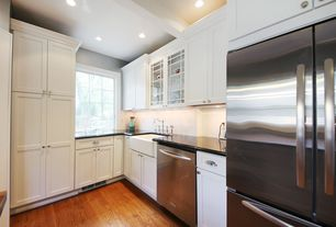 Traditional Kitchen with Simple marble counters, L-shaped, Absolute black granite, Farmhouse sink, Flat panel cabinets