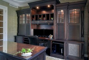 Traditional Home Office with French doors, Hardwood floors, Crown molding, Built-in bookshelf