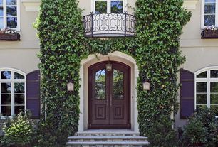 Traditional Front Door with Arched window, exterior stone floors, Glass panel door, Deck Railing