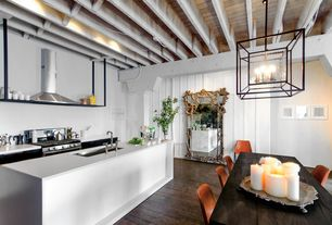 Contemporary Kitchen with Exposed beam ceiling, Corian counters, Exposed beam, European Cabinets, One-wall, Flush