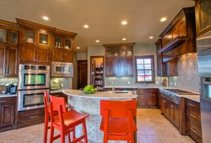 Contemporary Kitchen with stone tile floors, Inset cabinets, Breakfast bar, U-shaped, built-in microwave, Wall Hood, Paint