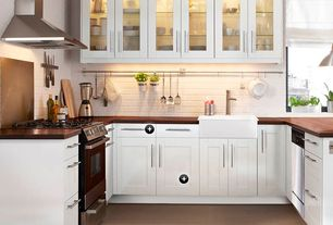 "Cottage Kitchen with John Boos Blended Walnut 25"" Deep Kitchen Counter Top, Reinhard fireclay farmhouse sink 30"""
