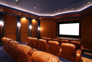 Traditional Home Theater with Carpet, Crown molding, Coja Juliet Home Theatre Chair, Wall sconce