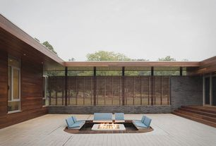 Modern Patio with Casement, Pathway, picture window, Fence, Fire pit, French doors