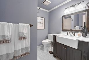 Traditional Full Bathroom with Paint, Complex marble counters, wall-mounted above mirror bathroom light, Farmhouse sink